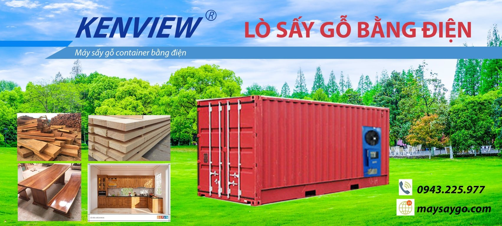 Lò sấy gỗ container